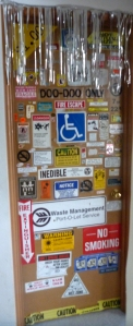 door covered in stickers