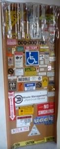 door covered in stickers