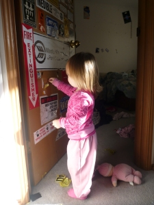 toddler wreaking a door