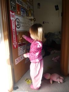 toddler wreaking a door