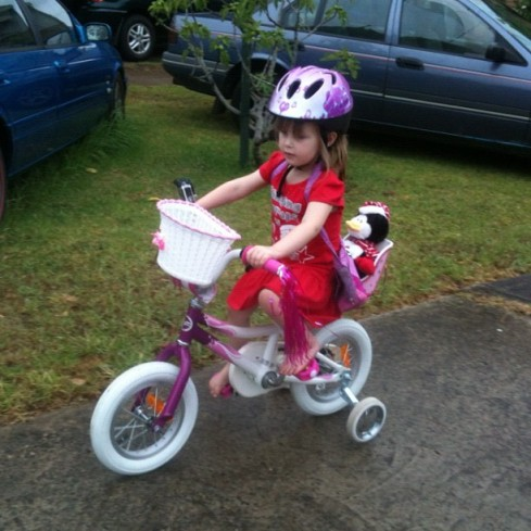 Hannah on her first bike ride