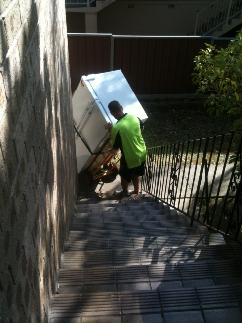 getting the fridge up the stairs