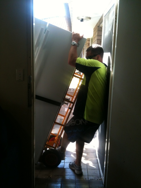 getting the fridge through the door