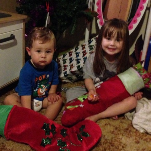 Daniel and Hannah with their stockings. Daniel was still half asleep and had no idea what was going on.