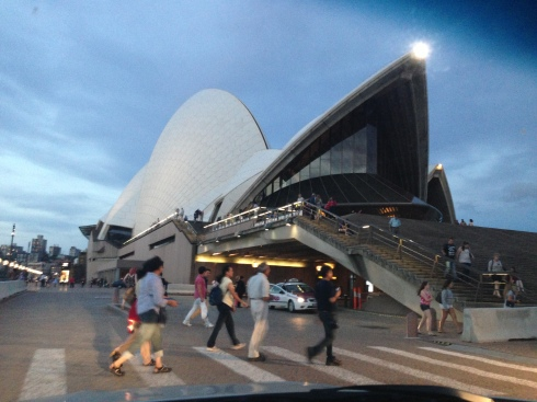 The opera house as seen through the car's windshield
