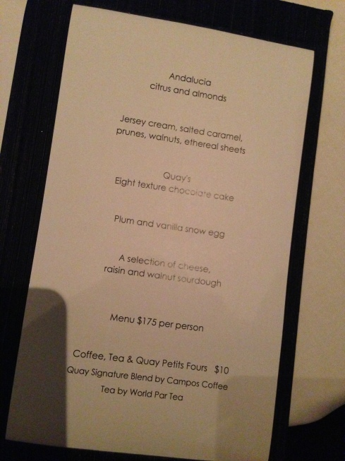 The last page of the 4 course menu