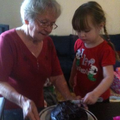 Hannah and grandma icing my birthday cake
