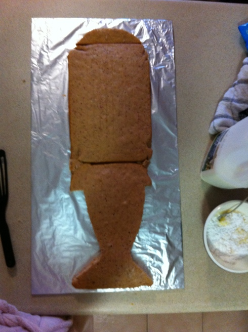 The cake after being cut to shape
