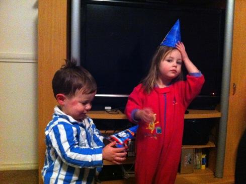 Impressed with his Thomas birthday hat