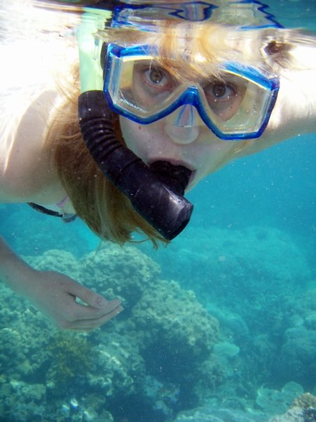 Me snorkelling off our little cruise ship on the Great Barrier Reef