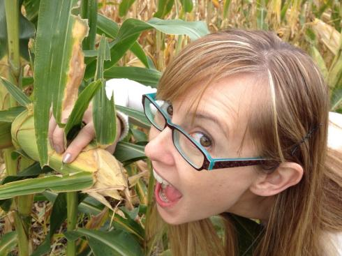 Me pretending to eat GM corn in Minnesota