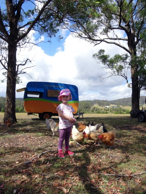 "Hannah with the chickens in front of the ""hens on holiday"" moveable coop"