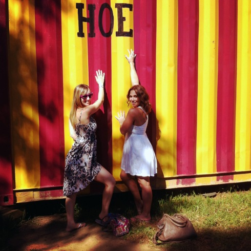 Me and The Jess.  We couldn't help ourselves.  I'm still not sure why Hoe was randomly written on a wall