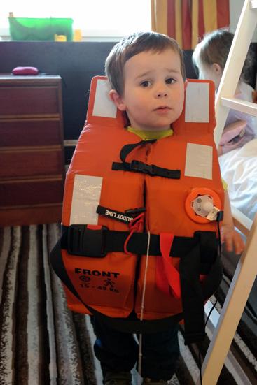 Daniel after the lifejacket drill