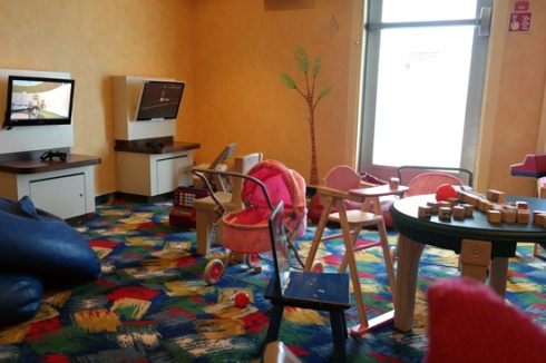 The playstation and play kitchen room in Turtle Cove (the 3-6 year old kids club)