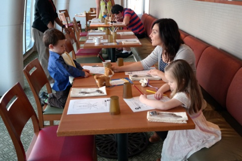 At kids dinner time (4:30), the tables have colouring in and colouring pencils.