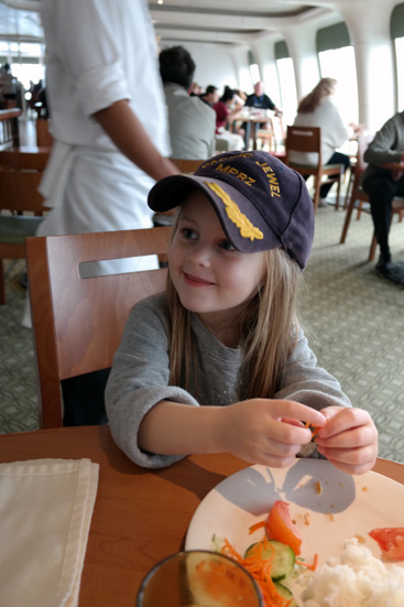 The captain came over to us at lunch one day and talked to the kids.  Hannah got to wear his hat.