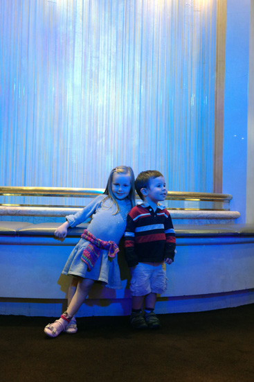 Hannah and Daniel loved looking at the colour changing fountain on the ship