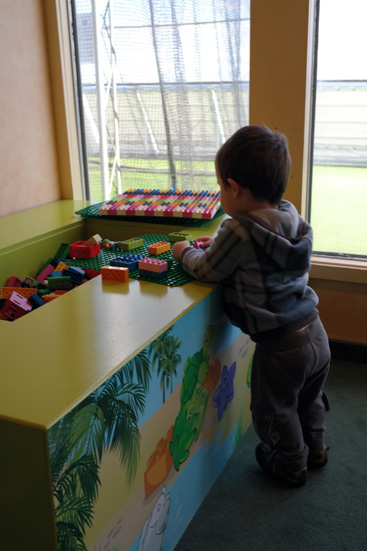 Daniel playing in Duplo corner.