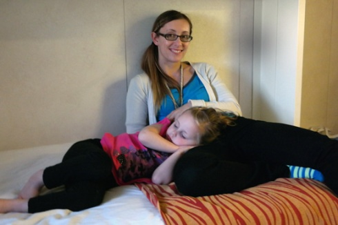 Cruises are tiring.  Hannah rarely naps, but she was so tired she curled up on me and went to sleep.