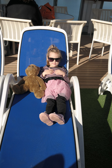Hannah and on a deck chair