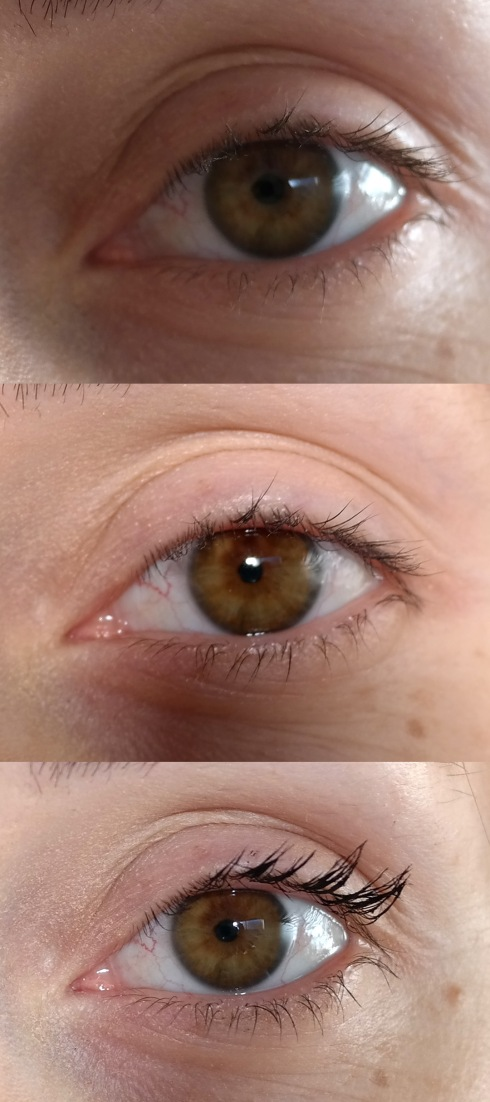 Without mascara, with normal mascara, and the bottom photo is with Younique 3D fibre lashes.